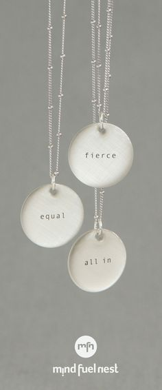 Tiny Type Silver Empowerment Necklaces, Made in the USA