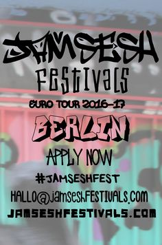 JamSesh Festivals hits Berlin this October on the #JAMSESHFEST EuroTour'16 covering 22 cities in 33 days across Europe and onto 2016/17 AUS & New Zealand Tour offering ARTISTS discovered along the way an opportunity to join the tour group across the EU, all the way down under and beyond! APPLICATIONS NOW OPEN for artists, vendors & volunteers at JAMSESHFESTIVALS.COM to participate in tech support, coordinating, promoting or to donate a venue or exhibition space email…