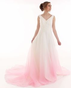 Amelia Wedding Dress - organza bridal gown with beautiful ombre colous design from ivory to blush pink!