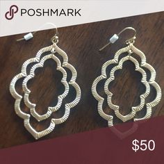Textured Hashed Moroccan Drop Earrings Beautiful!!! Anthropologie Jewelry Earrings