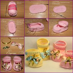 How to DIY Pretty Crochet Baby Booties with Ribbon Bow tutorial and instruction. Follow us: www.facebook.com/fabartdiy