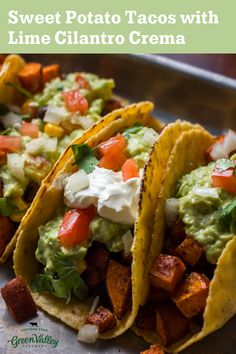 Vegetarian and lactose-free, these tacos are perfect for just about everyone. Made with Green Valley Creamery Low-Fat Yogurt and Sour Cream. Tasty Vegetarian Recipes, Vegan Dinner Recipes, Vegan Dinners, Veggie Recipes, Mexican Food Recipes, Whole Food Recipes, Diet Recipes, Cooking Recipes, Healthy Recipes