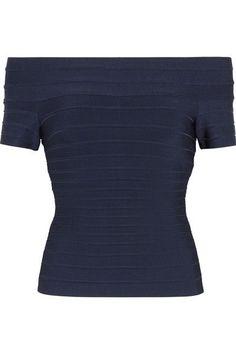 Hervé Léger - Off-the-shoulder Bandage Top - Navy - xx small