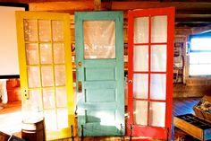 three old doors with shelf brackets #wedding #decor