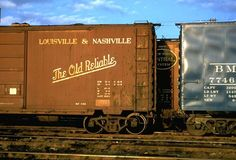 Walker Evans portrait of railroad freight cars, 1957.