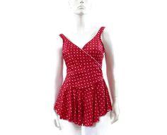 cd425dd3dc9 NEW Bombshell Skirted Swimsuit by Christine Red Polka Dot Under The Skirt,  Swim Dress,