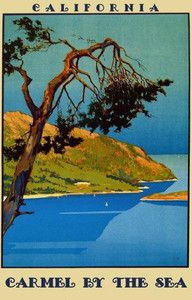 Carmel, California by the Ocean cypress tree vintage travel poster