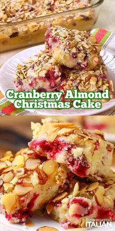 Cranberry Christmas Cake has only a handful of ingredients and comes together in a snap! A moist butter cake bursting with flavor is speckled with tart sweet cranberries. Cranberry Dessert, Cranberry Almond, Christmas Cranberry Cake, Best Christmas Cake Recipe, Holiday Cakes, Holiday Baking, Christmas Desserts, Dessert Party, Dessert Table