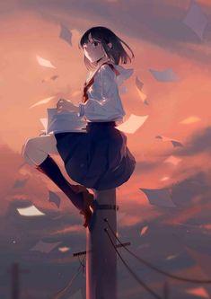 e-shuushuu kawaii and moe anime image board Black Hair Anime Girl, Anime Art Girl, Manga Art, Manga Anime, Anime Girls, Sky Anime, Aesthetic Art, Aesthetic Anime, Arte Dark Souls