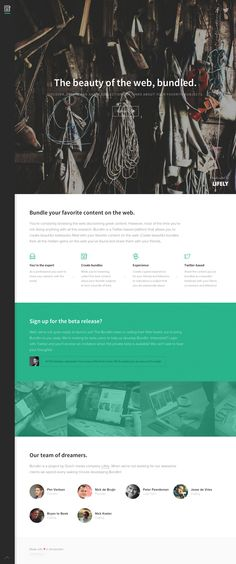 Clean responsive launching soon page for new startup 'Bundlin' that claims to be able to create beautiful lookbooks filled with your favorite content on the web. Lovely little intro text fade out as you start to scroll down. Interesting idea guys!