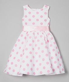 Look at this Light Pink Polka Dot A-Line Dress - Infant, Toddler & Girls on #zulily today!