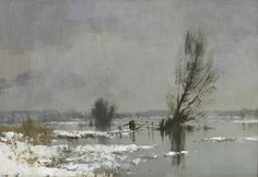 Flood Water and Snow, St Benet's Marsh, Norfolk - Edward Seago Painting Snow, Winter Painting, Love Painting, Watercolor Artwork, Watercolor Landscape, Abstract Landscape, Watercolor Pictures, Seascape Paintings, Landscape Paintings
