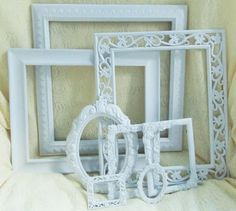 5/29/2014 8 White Chic Picture Frames Lot WEDDING Shabby French Rococo Ornate Home Decor