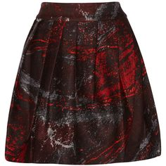 Halston Heritage Printed pleated silk-twill skirt ($150) ❤ liked on Polyvore featuring skirts, saias, crimson, pleated mini skirt, mini skirt, multicolor skirt, colorful skirts and red skirt