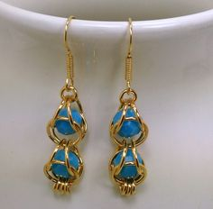 Turquoise Swarovski Caged Crystal in Gold Chainmaille Earrings by GutsyGirlJewelry on Etsy