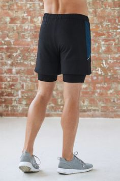 6ca0a3f511c74 Men's Training Bamboo Shorts - Black & Ocean Teal Marl - Bamboo Clothing