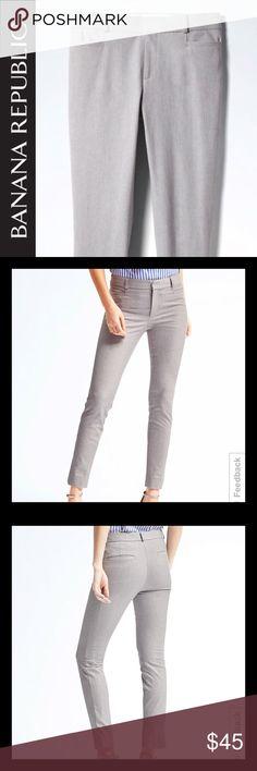 """NWT Banana Republic Sloan Grey Pants Ankle Size 0 New with Tags Banana Republic Sloan Skinny-Fit Solid Pant Light Gray Size 0 Sloan Fit: Mid-rise sits below the waist. Fitted through the hip and thigh. Ankle length. Inseams: Regular: 28"""" The polished Sloan fit sits lower on the waist with a sleek, tailored leg to balance and slim the hips. Our """"power stretch"""" fabric gives this pant amazing stretch and recovery. Zip fly with hook-and bar closure. Belt loops. Front coin pockets. Rear welt…"""