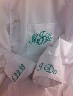 """Bride oversized men's boyfriend shirt monogram pocket and cuff """"I Do"""" on Etsy, $39.00"""