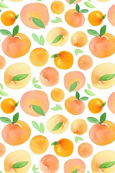 Hand painted watercolor peaches by dinaramay. Available in fabric, wallpaper, and gift wrap. Hand painted watercolor peaches by dinaramay. Available in fabric, wallpaper, and gift wrap. Orange Wallpaper, Summer Wallpaper, Iphone Background Wallpaper, Pastel Wallpaper, Aesthetic Iphone Wallpaper, Aesthetic Wallpapers, Fabric Wallpaper, Watercolor Wallpaper, Painting Wallpaper