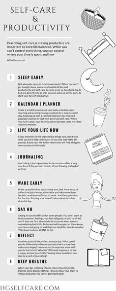 Self-care & productivity…how are they related? find out more at HGselfcare.com . #selfcare #selfcarefirst #breathe #takecareofyourself #metime #youmatter #mentalhealth #selflove #relax #calm #mindfirst #calmingthemind #bodypositivity #bodylove #bodypositive #selflovejourney #positivenergy #positivethinking #positivevibesonly #healthymind #happyliving #anxiety #consciousliving #enlightenment #peace #believeinyourself