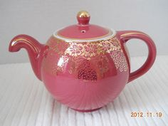 RARE Vintage Hall China No Drip Globe Tea Pot in Camellia & Gold ~ Almost Mint | eBay