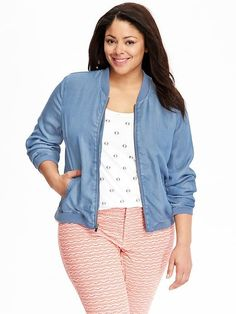 d2e536973bf Women s Plus Chambray Bomber Jackets Plus Size Fall Outfit