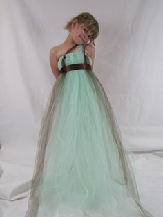Girls Tulle Tutu Dress. Love the one shoulder and replace the brown with peach and add a little teal/turquoise to the mix