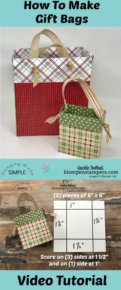VIDEO TUTORIAL: It's easy to make ANY SIZE gift bag from Designer Series Paper (DSP). Jackie Bolhuis, Klompen Stampers