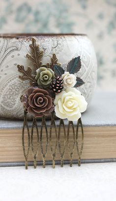 Floral Hair Comb Leaf Comb Neutral Earth Tones by apocketofposies