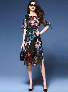 Fashion Chiffon Multi Print A-Line Dress