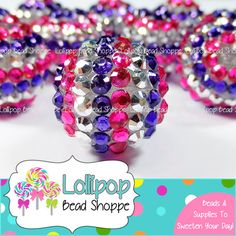 20mm Hot PINK PURPLE & SILVER Stripe Rhinestone Beads Bumpy Striped Bling Pave Chunky Necklace Beads Sparkly Beads Resin Berry Beads Bubblegum Beads by Lollipop Bead Shoppe on Etsy