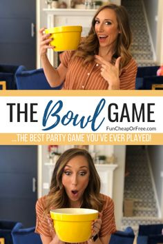 """the best party game you've ever played """"The Bowl Game"""".the best party game you've ever played! Christmas Party Games For Groups, Party Games Group, Holiday Party Games, Birthday Party Games, Party Fun, Party Games For Tweens, Easy Kids Party Games, Teenage Party Games, Fun Christmas Party Games"""