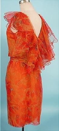 c. Spring/Summer 1962 CHRISTIAN DIOR, Paris Couture Orange Poppy Printed Tulle and Chiffon Dinner Dress