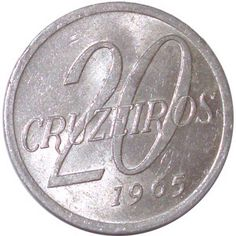 Moeda brasileira de alumínio de 20 cruzeiros 1965 Folding Money, Valuable Coins, Coin Art, World Coins, Fountain Pen, Stamp, Personalized Items, 1960s, Collections