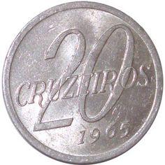 Moeda brasileira de alumínio de 20 cruzeiros 1965