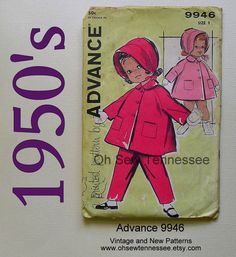 Coat, Bonnet, and Pants for Infants  Advance 9946  from Oh Sew Tennessee, www.ohsewtennessee.etsy.com.  Vintage pattern in excellent condiiton