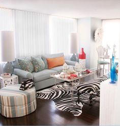 Zebra Rug Condo Living Roomliving
