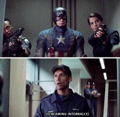 Abed what are you doing in a marvel movie? Marvel Funny, Marvel Dc Comics, Marvel Heroes, Marvel Movies, Marvel Avengers, Team Cap, A Team, Bucky Barnes, I Understood That Reference