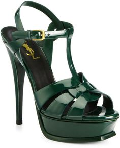 Saint Laurent Tribute Patent Leather Platform Sandal (dark green)