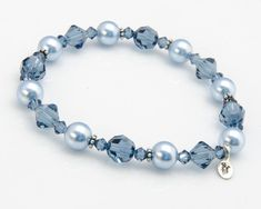 Blue Bracelet Blue Bridesmaid Bracelet Gift with Swarovski® Light Blue Pearl and Montana Blue Crystal Bracelet with Bali Sterling Silver Blaues Armband Blaues Brautjungfernarmband Geschenk mit Swarovski® Swarovski Bracelet, Crystal Bracelets, Silver Bracelets, Jewelry Bracelets, Ankle Bracelets, Pearl Bracelet, Jewelry Tags, Bridal Jewelry, Jewelry Gifts