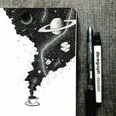 An entire universe of flavor inside a cup of coffee ☕️. An entire universe of flavor inside a cup of coffee ☕️. Space Drawings, Ink Pen Drawings, Ink Pen Art, Simple Art Drawings, Space Artwork, Ink Illustrations, Art And Illustration, Coffee Illustration, Inspiration Art