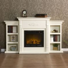 White Antique Wood Electric Fireplace Mantle Media Heater LCD TV Storage Stand | eBay