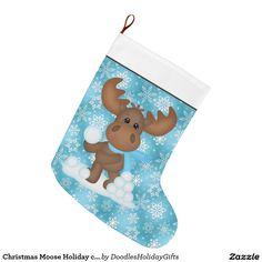 Christmas Moose Holiday cartoon stocking Large Christmas Stocking