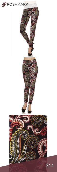 Just in! Paisley leggings Boutique item. Brand new. Paisley Print Brushed Ankle Leggings  One size fits 2-12 comfortably   Cute and super soft brushed legging, featured in a paisley  print.  Smooth and super comfortable fit in a very soft brushed peach skin fabric  Paneled elastic waistband  Approx. 27 in. inseam 92% polyester, 8% spandex Pants Leggings