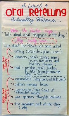 "Love this anchor chart of what I'm looking for when I say ""Tell me what happened in the story."""