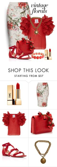 """Ruffles Like Flower Petals"" by shamrockclover on Polyvore featuring Yves Saint Laurent, River Island, Rosie Assoulin, Nancy Gonzalez, Alexandre Birman, Chanel and Liz Claiborne"
