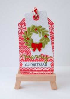 InvisiblePinkCards: Handmade Christmas Tag using Lawn Fawn paper and dies