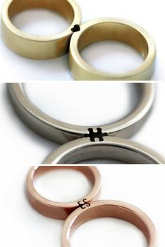 These wedding rings represent a couple's unique bond with one another in the simplest – and cutest – way. Made by Israeli couple-turned-business partners Maya (a jeweller) and Eliad (a lighting architect), they only really make sense when you put them to Wedding Rings Simple, Unique Rings, Wedding Rings Sets His And Hers, Alternative Wedding Rings, Simple Rings, Wedding Ring Styles, Wedding Ring Designs, Wedding Engagement, Engagement Rings