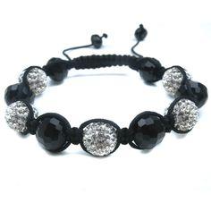 Black Glass & Multi Silver Diamante Bead Fashion Bracelet, Puckator USA & Canada Giftware Wholesalers