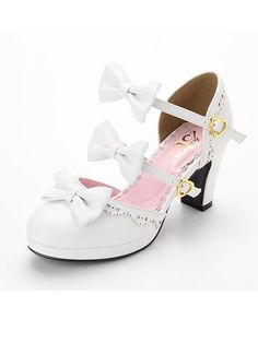 dreamv 2WAY Ribbon strap Lolita sandals - White Colorway